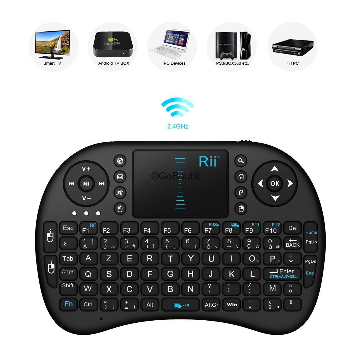 clavier multimédia Rii Mini i8 - Mini Clavier AZERTY Touchpad sans Fil