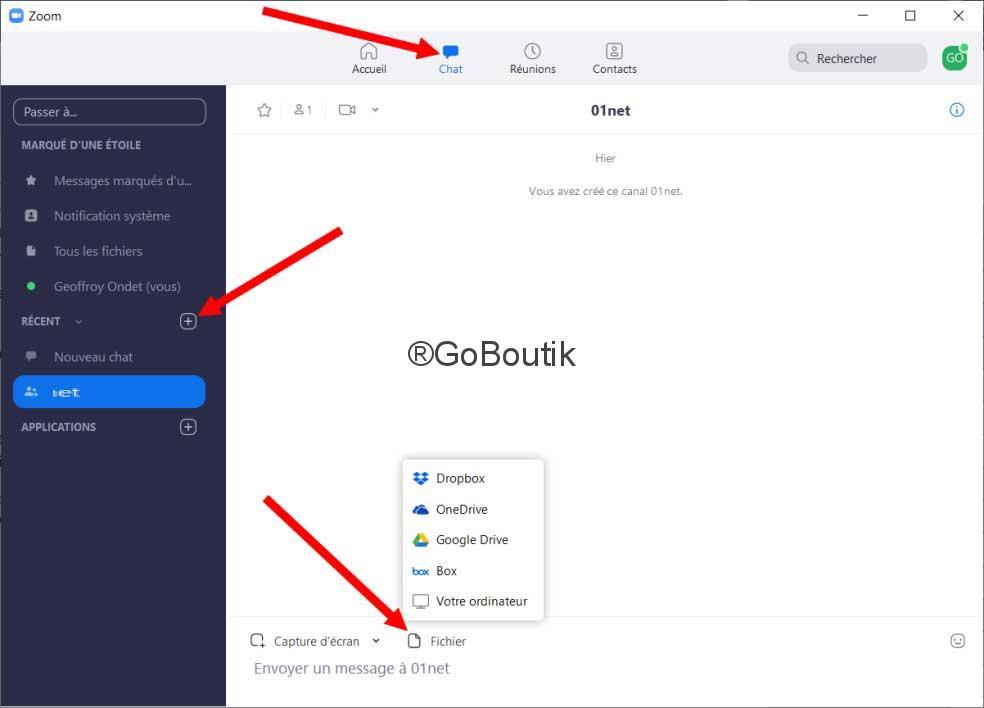 chat echange fichiers zoom