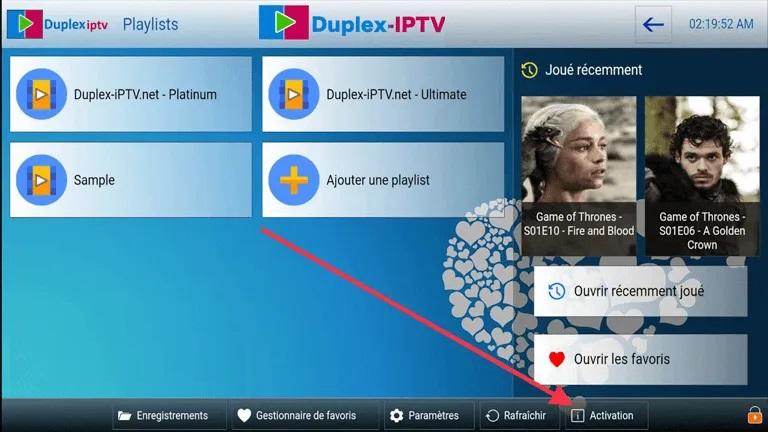 activer duplex iptv