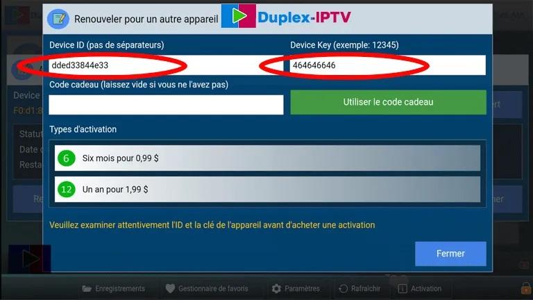 activation duplex iptv